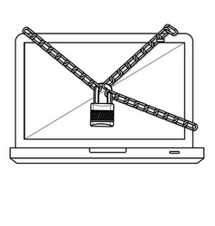 figure computer with chain and lock icon vector image