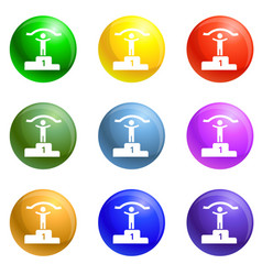 first podium place icons set vector image