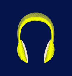flat shading style icon headphones stereo vector image