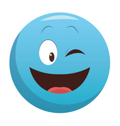 flirt eye chat emoticon vector image