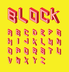 font red block style on yellow background vector image