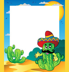 Frame with mexican cactus vector