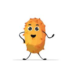Fresh juicy kiwano personage tasty ripe fruit vector