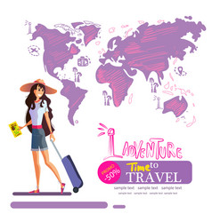 Girl in a hat travels around world vector