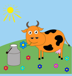 Good cartoon cow grazing in a meadow vector