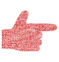 Hand pointer right fabric textured icon vector