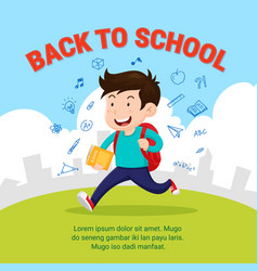 Happy student go to school back to school flat vector