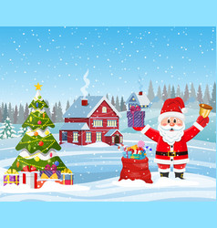 House in snowy christmas landscape vector