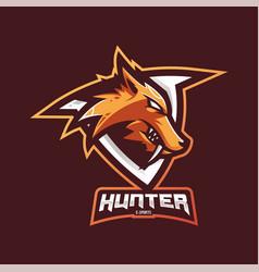 hunter mascot logo design with modern vector image