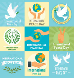 international day of peace concept set flat style vector image