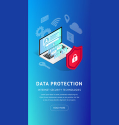 isometric internet security vertical banner vector image