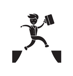 jumping over black concept icon jumping vector image