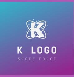 K initial space force logo design galaxy rocket vector