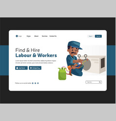 labour and workers landing page vector image