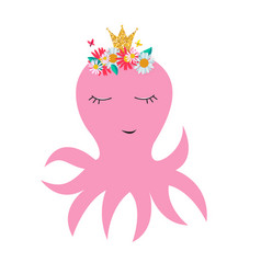 little cute octopus princess with crown and vector image