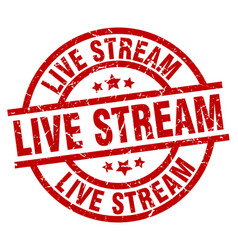 Live stream round red grunge stamp vector