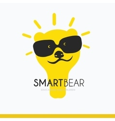Logo smart bear with glasses a stylized vector