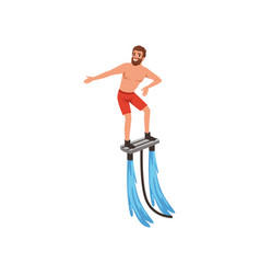 man flyboarding extreme water sport activity vector image