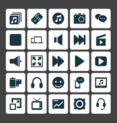 Media icons set collection of television music vector