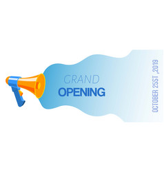 megaphone loudspeaker grand opening banner vector image