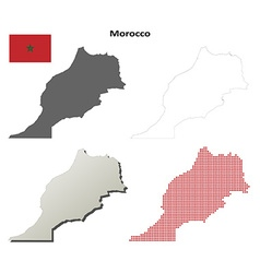 Morocco outline map set vector image
