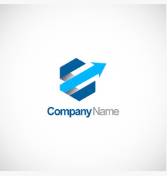 polygon arrow 3d company logo vector image