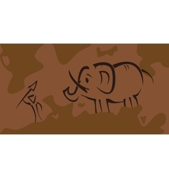 Prehistoric picture with hunter vector image