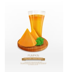 pumpkin and a glass of juice vector image