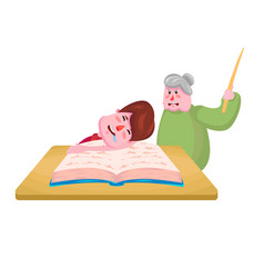 Pupil boy fell asleep on book and old vector
