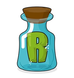 R in magic jar Letter to a lab for tests and vector image