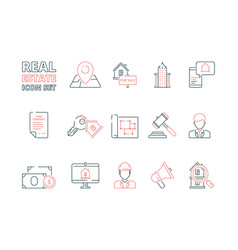 Real estate line icon building sale house realty vector