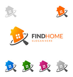 real estate logo design simple realty with pin vector image