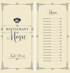 Restaurant menu with price list toque and cutlery vector