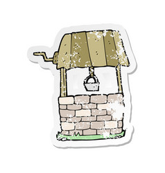 Retro distressed sticker of a cartoon wishing well vector