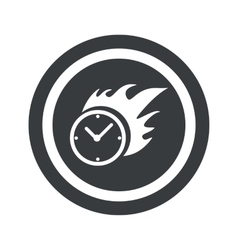Round black burning time sign vector image