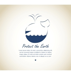 save the earth whale on retro background vector image
