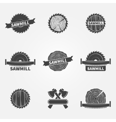 Sawmill logo or label vector image