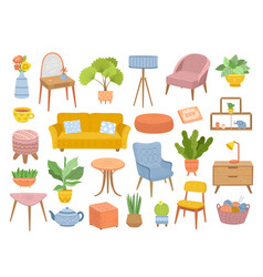 Scandinavian furniture isolated cozy home vector