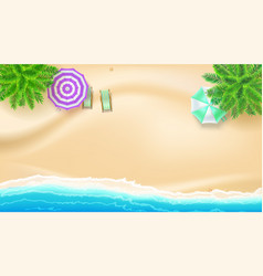 Sea shore and sandy beach flat lay top view of vector
