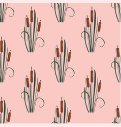 seamless pattern with elegant reed bushes vector image