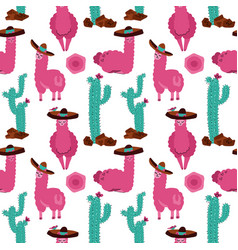 seamless pattern with llama in sombrero cactus vector image