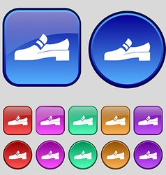 Shoe icon sign A set of twelve vintage buttons for vector image