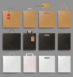 shopping bag mockup set design square and vector image