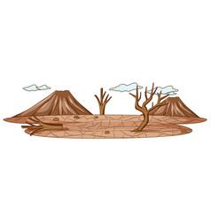 Simple scene drought land vector
