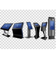 Six promotional interactive information kiosk vector