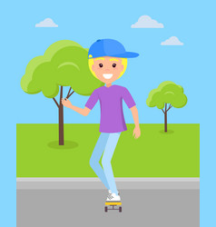 smiling blond boy ride on skateboard at skatepark vector image