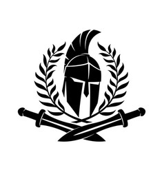 spartan helmet with swords vector image