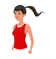 Sport girl fitness with red shirt and ponytail vector