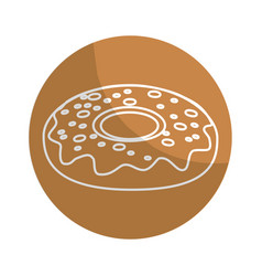 Sticker delicious sweet donut bakery snack vector