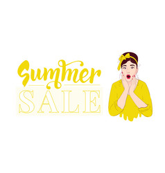 summer sale design template pin up girl wow vector image